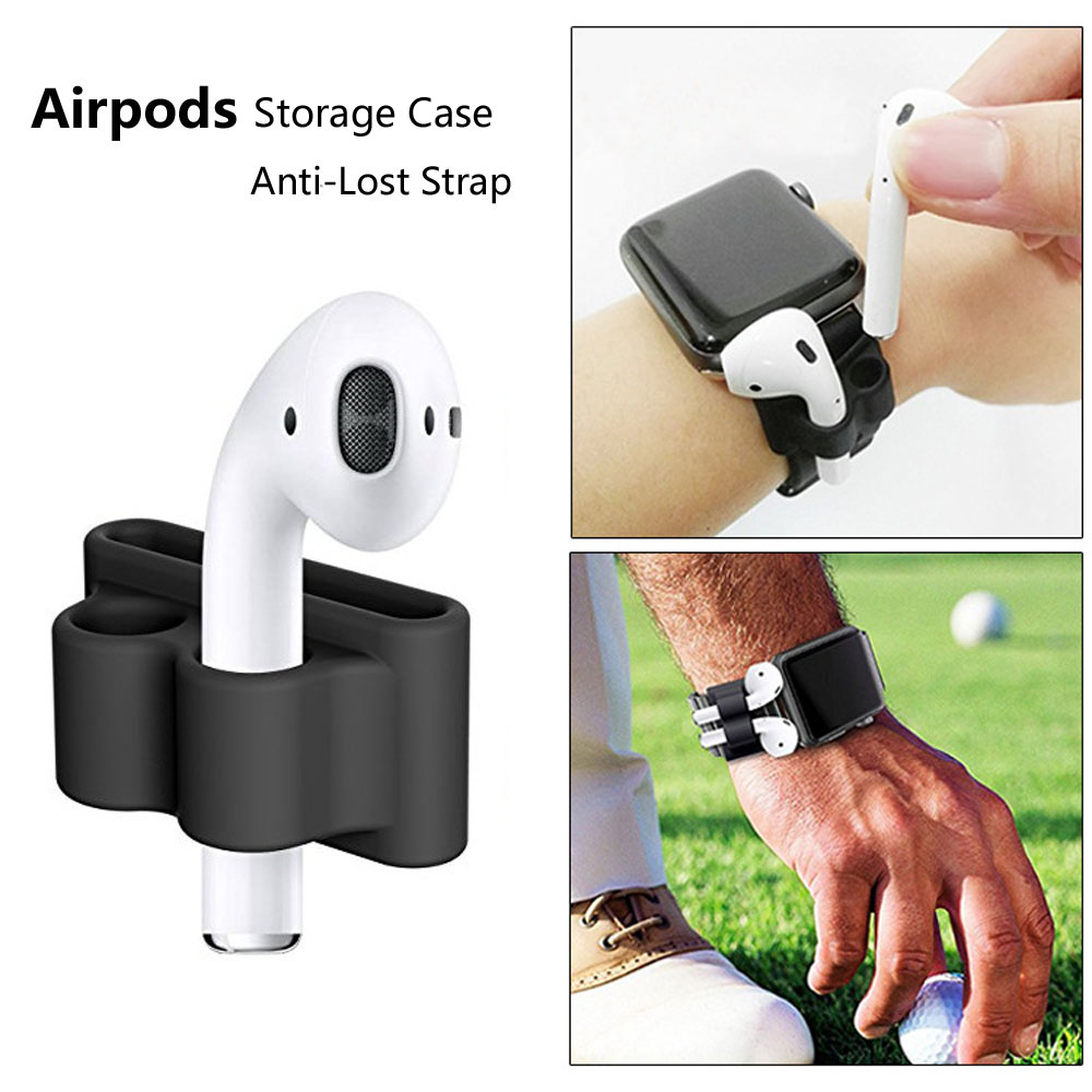 Silicone storage case for Airpods bluetooth headphone portective stand cover anti-lost strap for Iphone iwatch watch Air pods