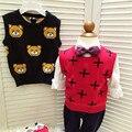 Outono de alta Qualidade Crianças Roupas de Bebê Bonito Dos Desenhos Animados Camisola de Malha Meninos Colete de Crochê Pullover Meninas Bonitos Colete 81003