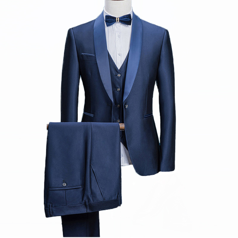 Wide Peaked Lapel Men Suits for Wedding Tuxedos 2018 White Groom Best Man Blazer jacket 3