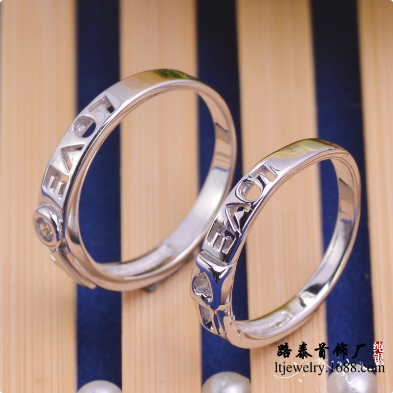 LTR187 wedding zircon 925 silver couple rings rhodium plating free shipping