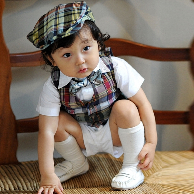 New 2016 Summer Style Child Boys Clothing sets Casual Boys Suits 5 pieces Shirts +Tie + Vest + Shorts + Hat