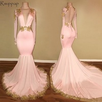 Long Sleeve Prom Dresses 2018 Gorgeous Mermaid Style Sexy V Neck African Backless Gold Lace Pink