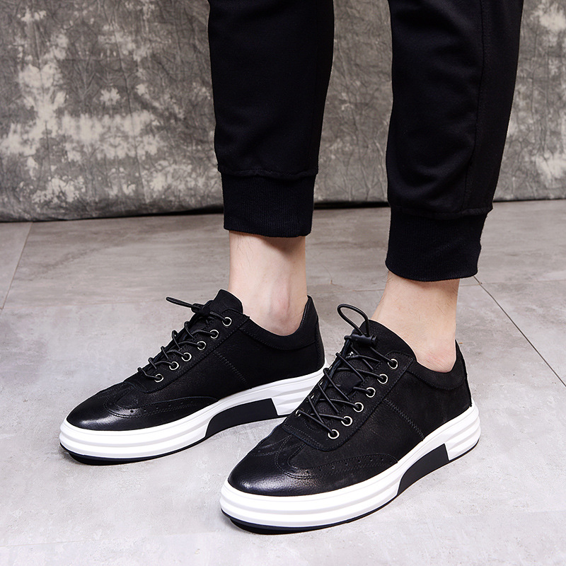 Diseñador Vac Los Calidad Moda Negro Británica Verano Casuales Hombres Primavera Bullock fósforo Del Tallado Zapatos Piel Todo gris La De Alta PxUqgX