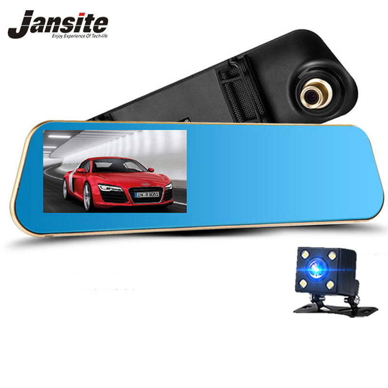 Jansite 1080P Car Dvr Drych Blue Rearview Car Lens Deuol Camera dau gamera Record Dolen Auto Recordrator Camcorder