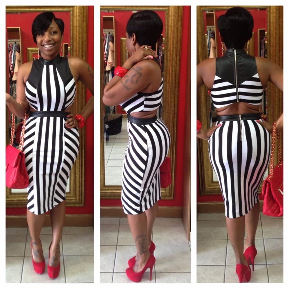 60dd73762ec Striped Women Sexy Dress Sheath Sleeveless Knee-Length Hollow Out Dress  Back Zipper Summer Party