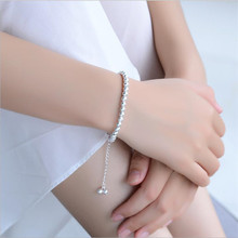 TJP Trendy Female Silver 925 Bracelets For Women Jewelry Girl Anklets Frosted balls Lady Party