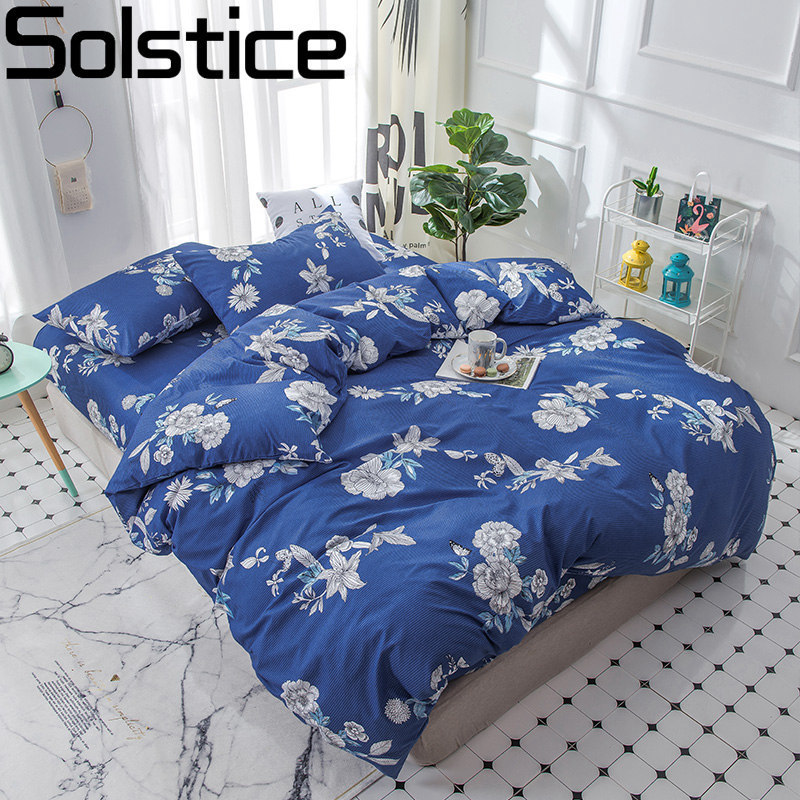 Solstice Home Textile Blue Flower Woman Adult Bedding Set King Full Linen Girls Teen Bedclothes Duvet Cover Pillowcase Bed Sheet
