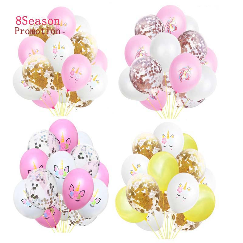 8SEASON 15pcs Unicorn Confetti Balloon Rose Gold Latex My Little Pony Party Birthday Cartoon Animal Baby Shower