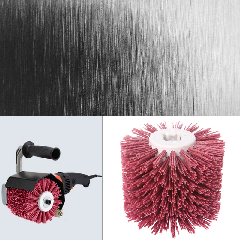 Deburring Red Ceramic Abrasive Wire Round Brushes Head Polishing Buffing Wheel For Furniture Wood Sculpture Rotary Drill Tool