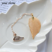 1Piece Bookmark Creative Cartoon Metal Leaves Bookmarks Student Exquisite Small Pendant Chain Gift Feather  Classical YOUE SHONE