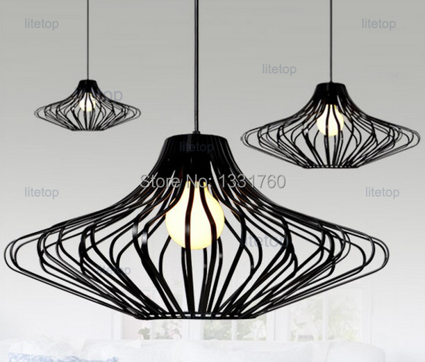 UFO iron cage pendant lamp UFO pendant light suspension lamp hanging lighting fixture dinning room kitchen sitting room cafe bar new loft vintage iron pendant light industrial lighting glass guard design bar cafe restaurant cage pendant lamp hanging lights