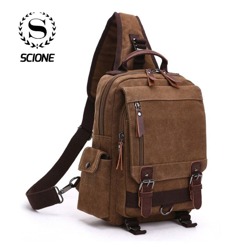 Men's Canvas Shoulder Bag Canvas Bags For Men Woman Handbag  Travel Bag Many Compartments