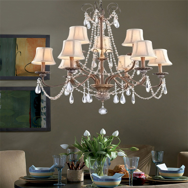 K9 Crystal Luxurious Chandeliers American European Classical Art Deco  Suspension Lighting Living Room Hanging Lamp