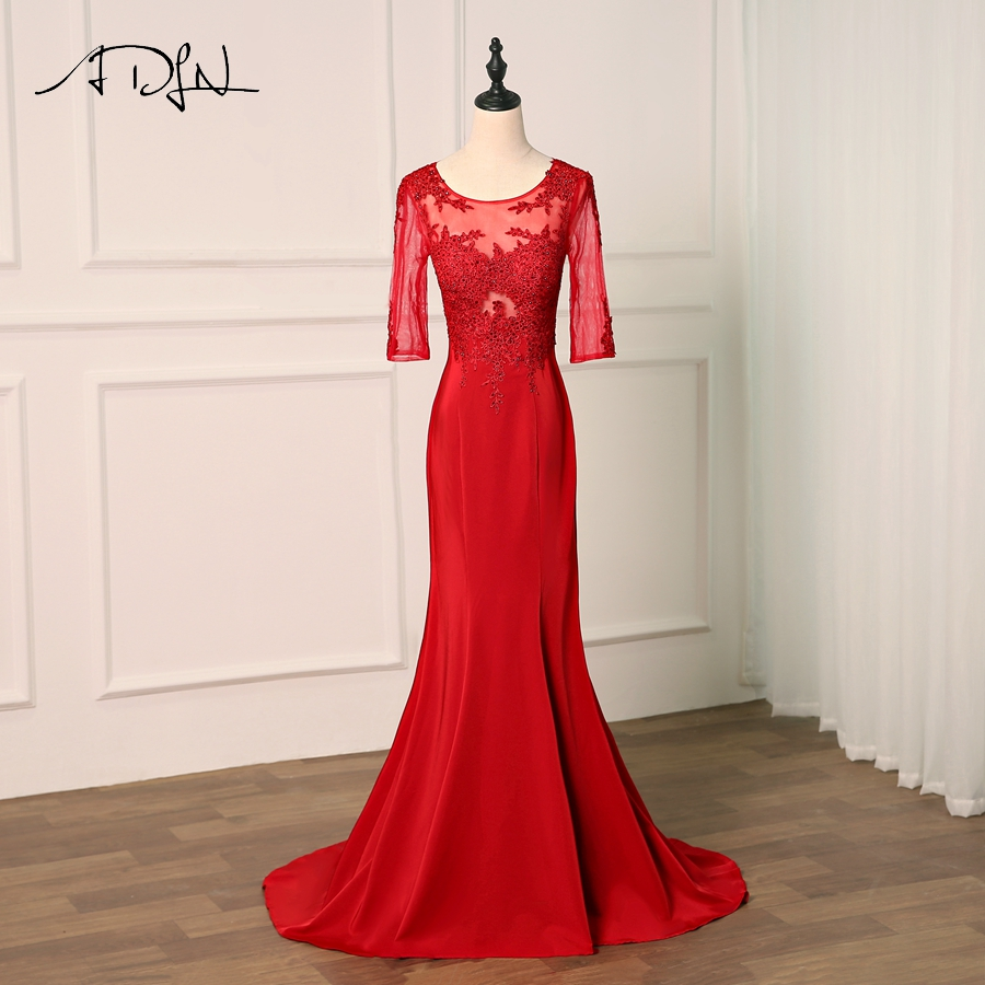 ADLN   Prom     Dresses   Long Party   Dresses   Half Sleeves Applique Beading Evening   Dresses     Prom   Party   Dress   Real Photo