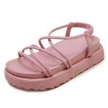купить Gladiator Sandals Platform Summer Shoes Women Casual Flats Sandals Ladies Sweet Pink Beach Slippers Outdoor zapatillas mujer в интернет-магазине