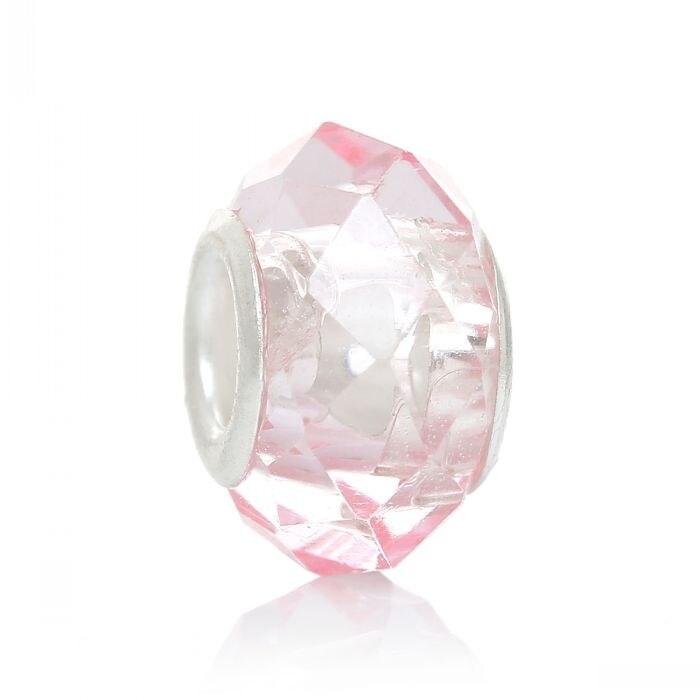 DoreenBeads розница Стеклянные европейские бусины-шармы круглые светильник-розовые граненые около 14 мм x 9 мм, отверстие: около 5 мм, 30 шт.
