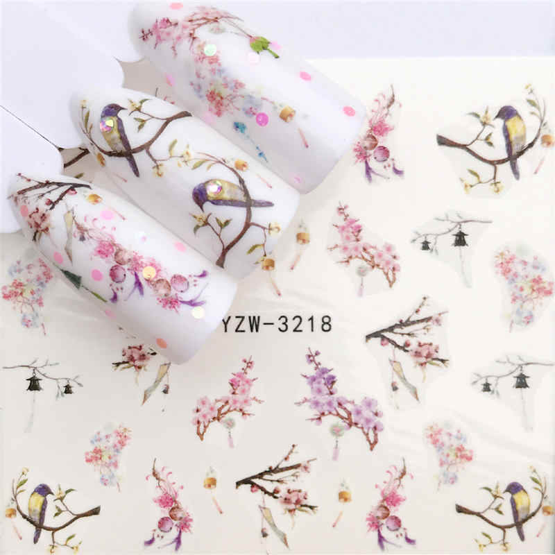 1 PC 2019 New Styles Nail Sticker Water Decals Plum / Flower /Pig / Animal / Cartoon Transfer Nail Art Decoration