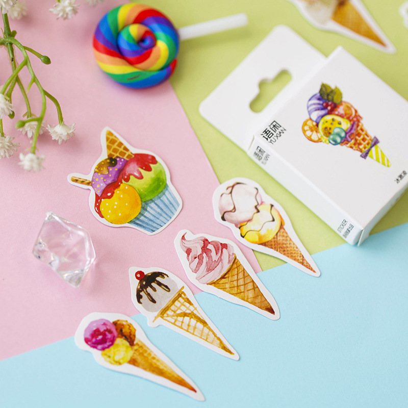 50 Pcs /Pack Sweet Ice Cream Mini Adhesive Stickers Stick Label Decoration Stickers Student Office Supply
