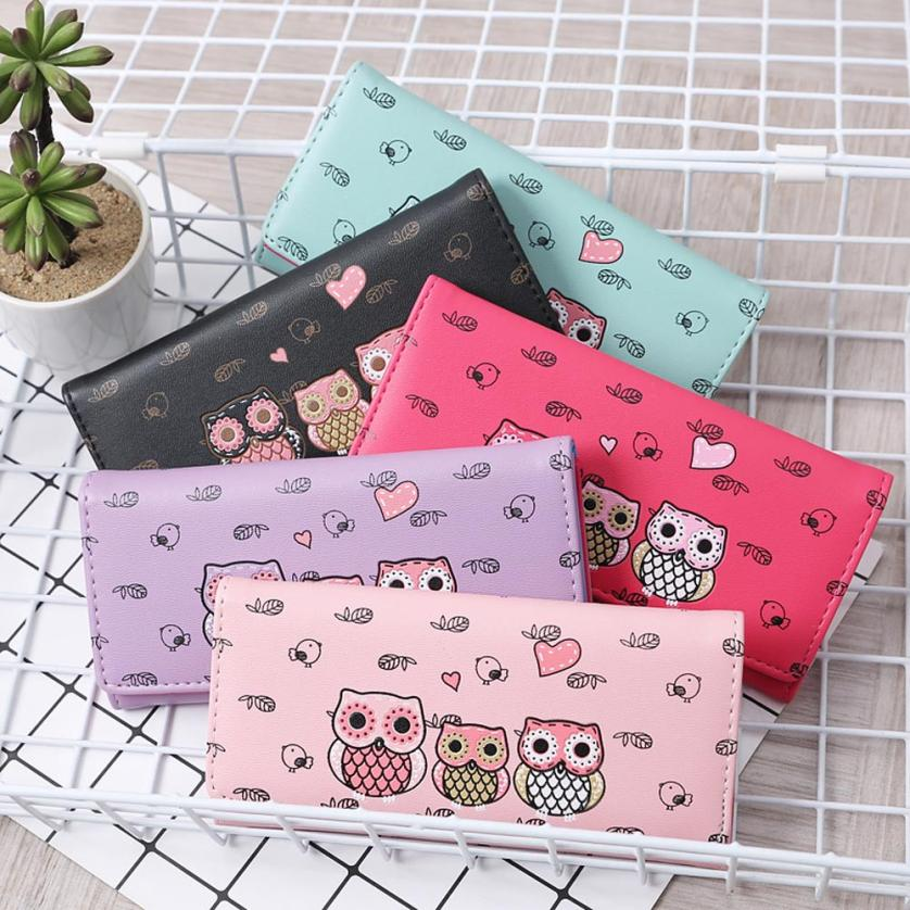 Women Simple Retro Owl Printing Long Wallet Coin Purse Card Holders Handbag wallet female Aug 9 3