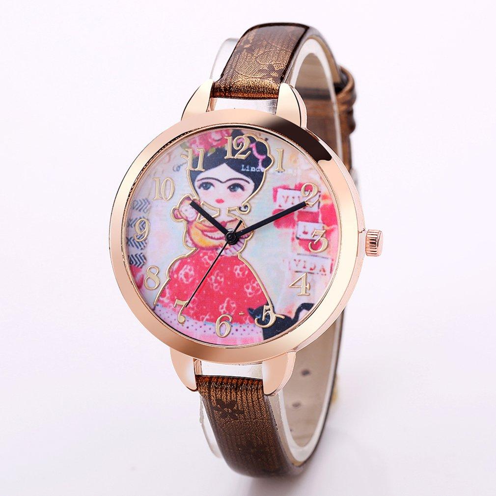 Men's Watches 2018 Women Slim Leather Strap Wristwatch Casual Girl With Monkey Quartz Watch Ladies Big Round Dial Watches Female Watches Gift Quartz Watches