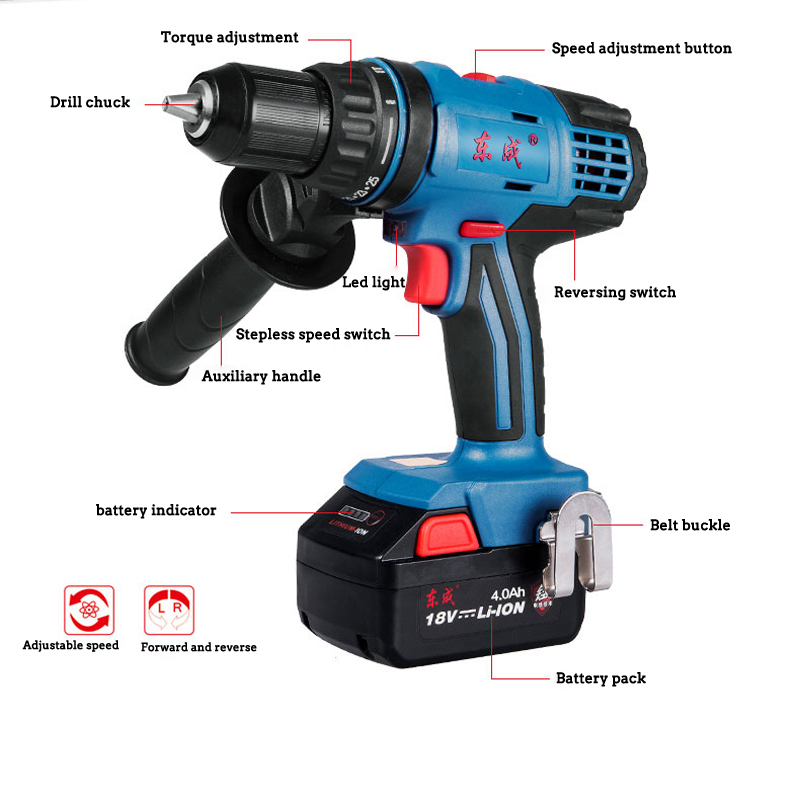 DIY 500W Hammer Drill Compact Versatile Drill Variable Speed Reverse Forward