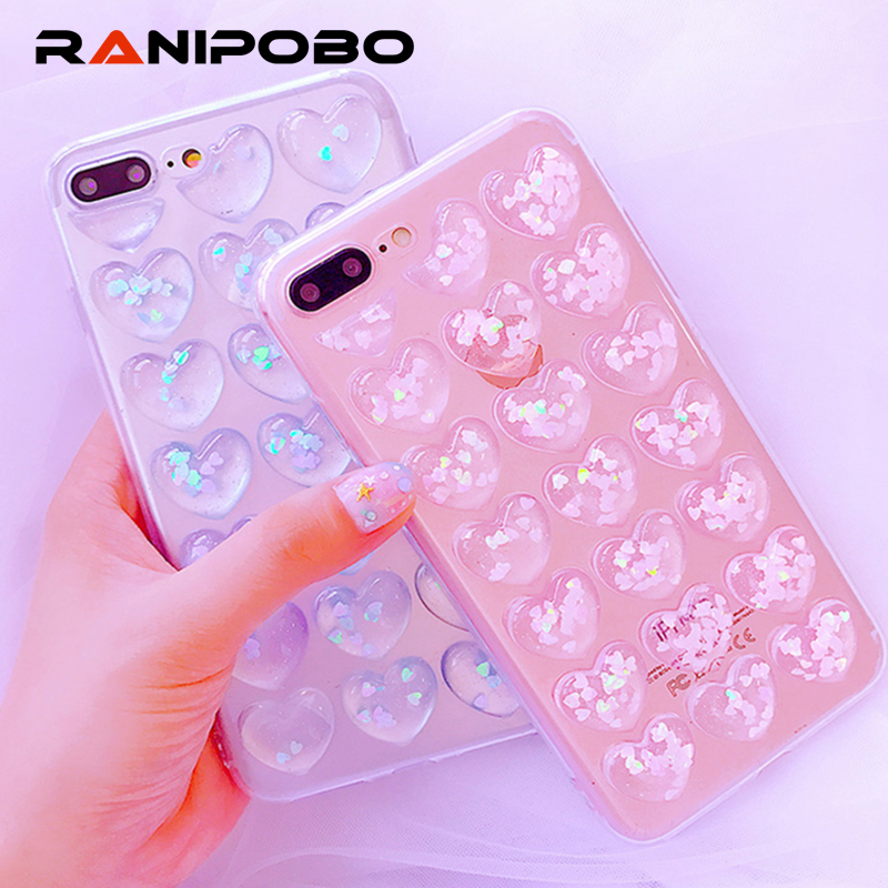 Bling Love Heart Clear Case For iPhone X 8 7 6 6S Plus Cover Soft TPU Glitter Sequin Case For Samsung S8 Plus Case