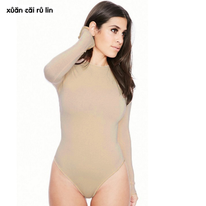 Sexy Long Sleeve Bodysuit Women Elastic Black Nude Fashion Elegant Bodysuit Casual Button Winter Autumn Romper Female Body Suits