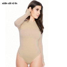 Sexy long sleeve bodysuit Women elastic black nude fashion elegant body