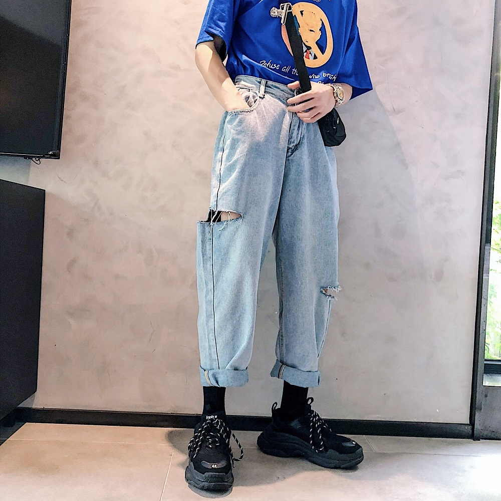 2018 Spring And Summer New Men's Solid Color Simple Jeans Beach Hip-hop Personality Casual Trousers Fashion Temperament