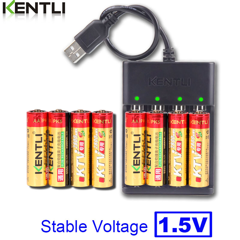 8pcs KENTLI 1.5V AA PK5 2800mWh rechargeable lithium li-ion batteries battery+ 4 slots lithium quick AA AAA charger image