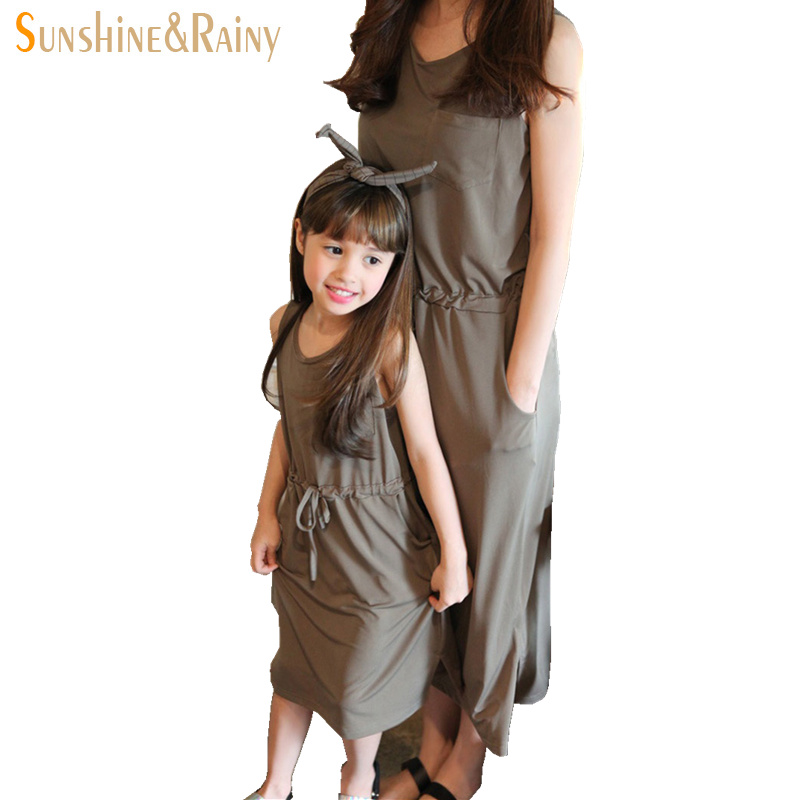 ФОТО Korean Mother And Daughter Dresses Girls Sleeveless Casual Dress Mom And Daughter Matching Family Clothing Paternity Clothes
