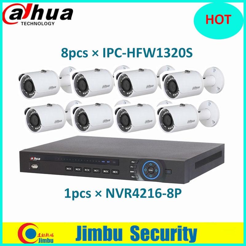 Dahua NVR Kit 1pcs NVR4216-8P 16CH 2HH 5MP H.264network video recorder and 8pcs IPC-HFW1320S 3MP IP Bullet Camera 1080P IR 30m dahua 3mp network ir bullet camera ipc hfw1320s freeship poe original english version dh ipc hfw1320s dahua ip camera