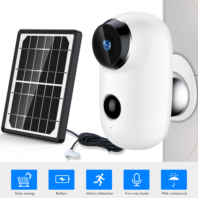 SDETER Wire-Free Wifi Camera Outdoor Rechargeable Battery With Solar Panel 720P Security IP Camera Outdoor 2-way Audio PIR Alarm