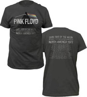 Pink Floyd T Shirt Adult Dark Side Of The Moon 72 Tour Music Tops Tee Shirts