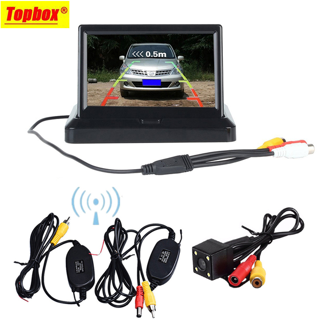 """Wireless 5 """"Plegable TFT Color LCD Pantalla Del Monitor y de Visión Nocturna de Visión Trasera Cámara de Reserva Retrovisor De Vehículo Car"""