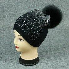 1 unidades invierno de las mujeres sombrero de piel de conejo de punto de  lana sombrero 86e5265e4a9
