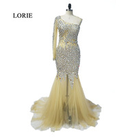 LORIE Evening Party Dress Long Formal One Sleeve Beaded Crystal Mermaid Champagne Bling Bling Real Photo