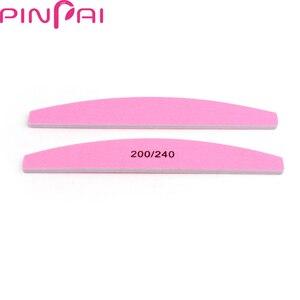 Пилка для ногтей PinPai, полукруглая розовая пилка для маникюра и педикюра, 5 шт., 200 240 Грит, двухсторонняя Шлифовальная Пилка Для ногтей, буфер