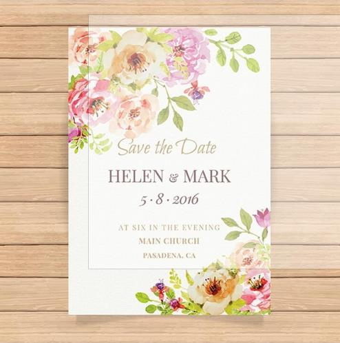 Simple Linen Paper Wedding Invitation Floral Design with Envelope CA0759