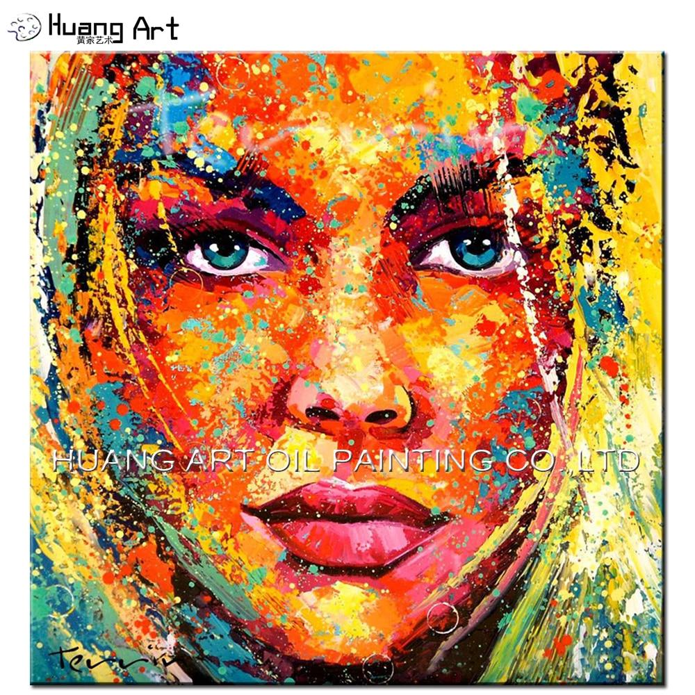 Compétence Artiste Peint À La Main Abstraite Coloré Fille Visage Figure Huile peinture pour le Salon Mur Peinture pour La Décoration Intérieure Mur Art