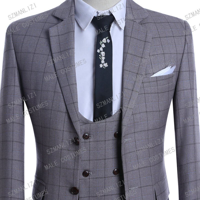 High Quality 2019 Costume Homme 3 Piece Formal Mens Suit Ternos Slim Fit Tuxedo Prom Suits For Men Plaid Groom Wedding Suits