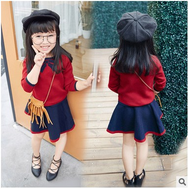 Kids Girls 2017 Spring Kids Outfits Baby clothes Girls Skirt Sets Cute Long Sleeve Knitted sweaters+Tutu Skirts suits 2-9 yrs 2 2016 new fashion boutique outfits for omika baby girls sets with 2 pcs cute print long sleeve tops bow tutu skirts size 4 12y