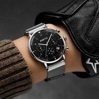 GIMTO 2018 Creative Quartz Men Watch Top Brand Steel Male Sport Military Watches Silver Black Casual