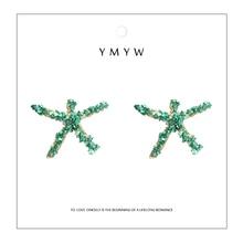 YMYW 2019 Summer Fashion Colorful Stone Starfish Stud Earings Zinc Alloy Statement Earrings for Women Beach Bijoux En Argent 925 цена