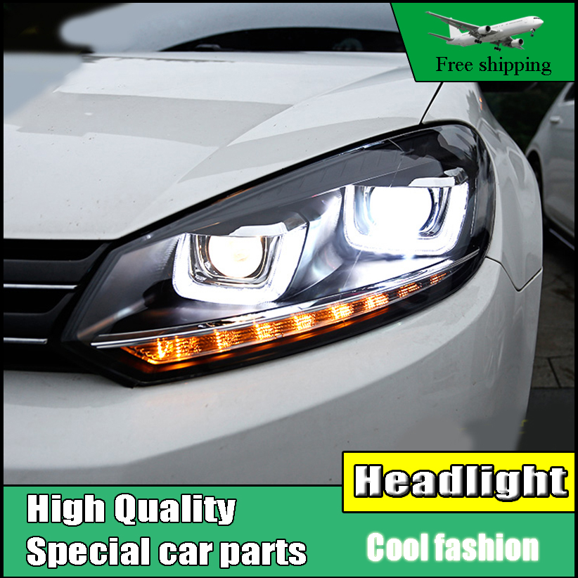 Car Styling Head Lamp Case For VW Golf 6 headlights 2010-2012 LED U Angel eyes DRL Bi-Xenon Lens Flowing Turn Signal Headlight free shipping for vland car styling head lamp for vw golf 7 headlights led drl led signal h7 d2h xenon beam