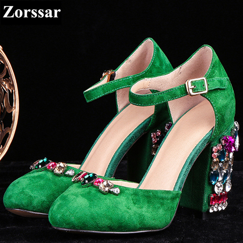 Summer shoes woman sandals High heels women ankle strap shoes 2017 New Fashion suede leather rhinestone womens pumps heels fashion women ankle strap shoes pumps shoes womens rhinestone high heel sandals red blue 2017 new arrival woman summer shoes