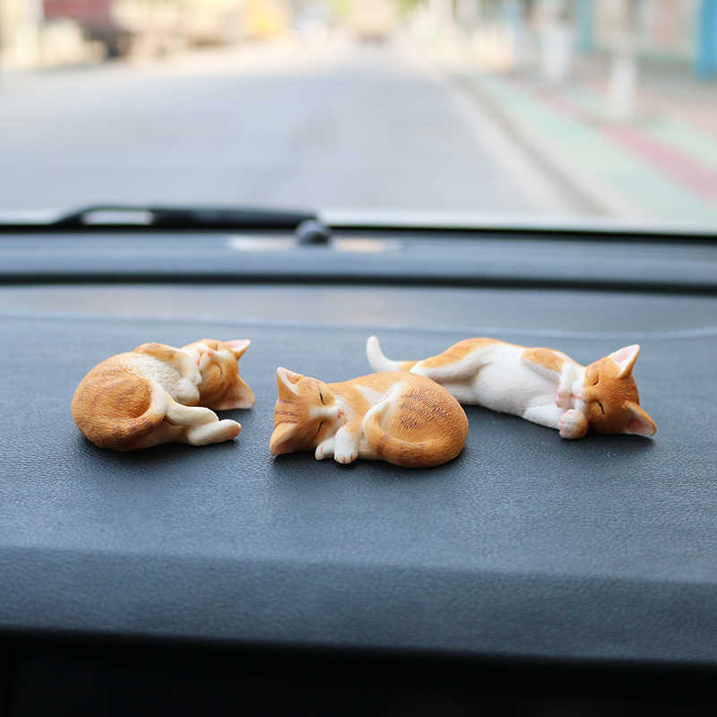 Hot Sale Sleeping Position Cat Simulation Kitten Model Pet Resin Pose Cute Car Jewelry Gift Figurines Miniature Decoration Craft