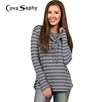 Cova Sophy 2017 Autumn Winter Women Fashion Long Sleeve Blouse Female Knitted Stripes Casual Sweatshirt Tops