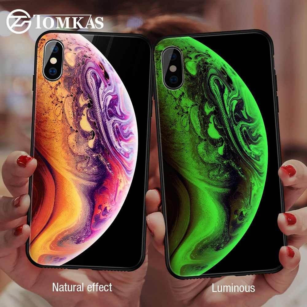 TOMKAS مضيئة فاخرة حقيبة لهاتف أي فون X Xs ماكس Xr زجاج غطاء الهاتف سيليكون حقيبة لهاتف أي فون 7 8 Plus خزائن هاتف آيفون 6 S 6s