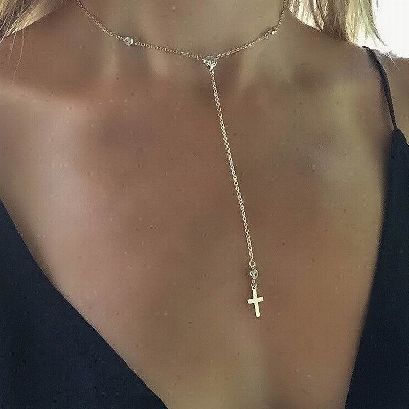 New Christian Gold Jewelry Catholic Crystal Cross Pendant Necklaces